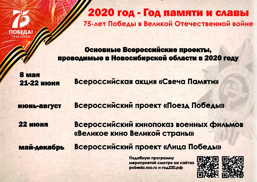 ГОД ПАМЯТИ И СЛАВЫ. Основные Всероссийские проекты, проводимые в НСО с 2020 году